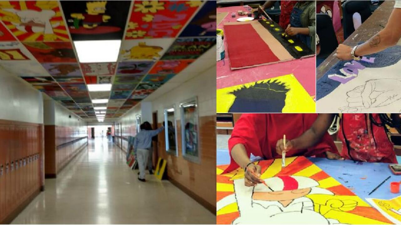 John Marshall students paint ceiling tiles to beautify Richmond high school