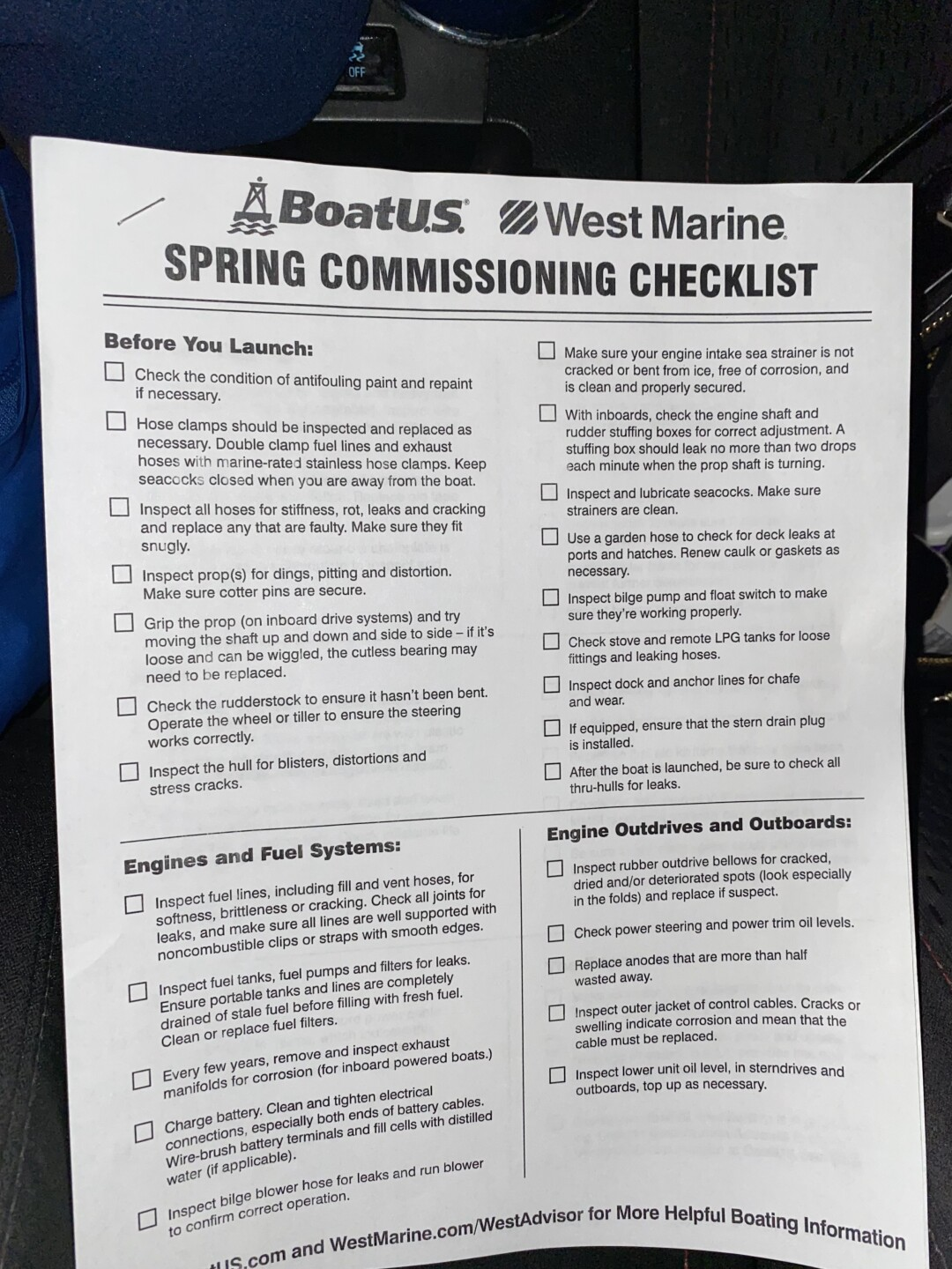 West Marine has a spring boating checklist to prepare you for the season