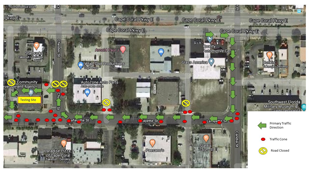 Traffic Plan Coronavirus testing site