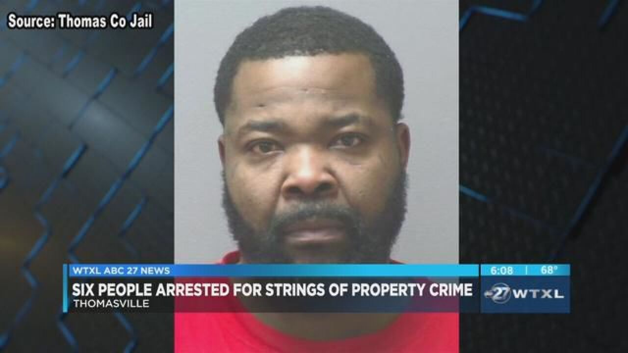 Six arrested for Thomasville thefts, several others at large