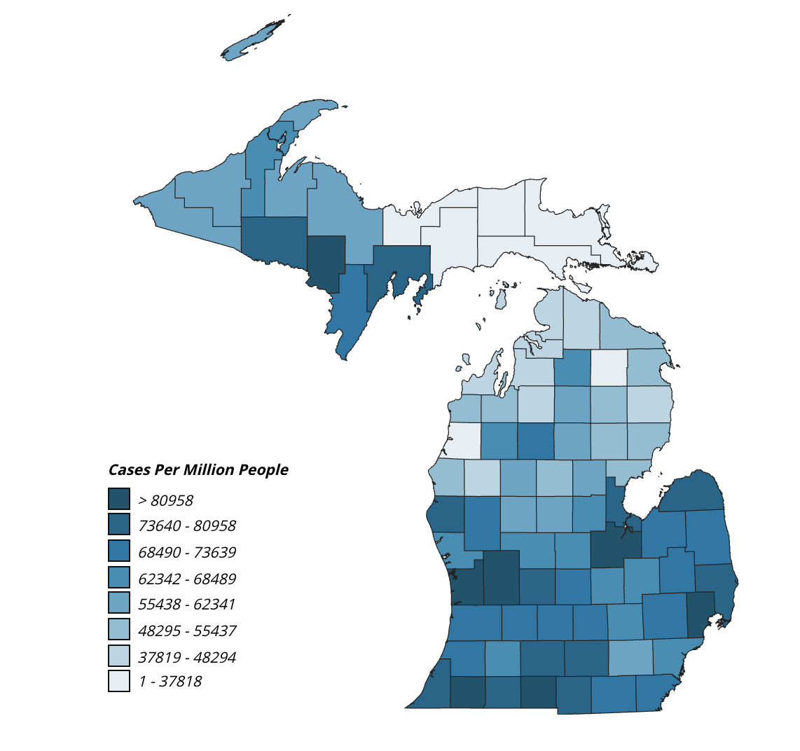 Michigan.gov COVID-19 heat map