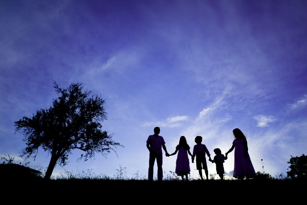 Happy family kids outside children parents walk