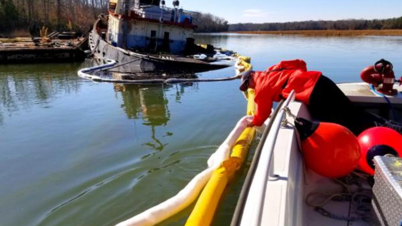 Coast Guard helps clean up oil spill caused by tugboat in Newport News