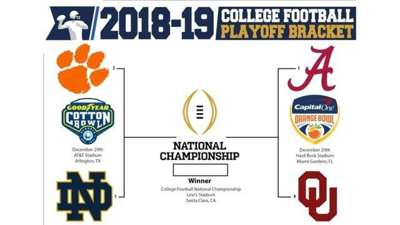 Matchup S For College Football Playoff Are Set