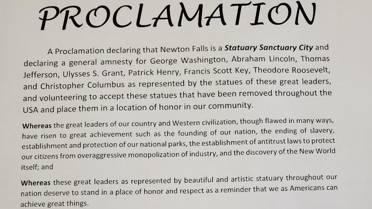 Newton Falls statue proclamation