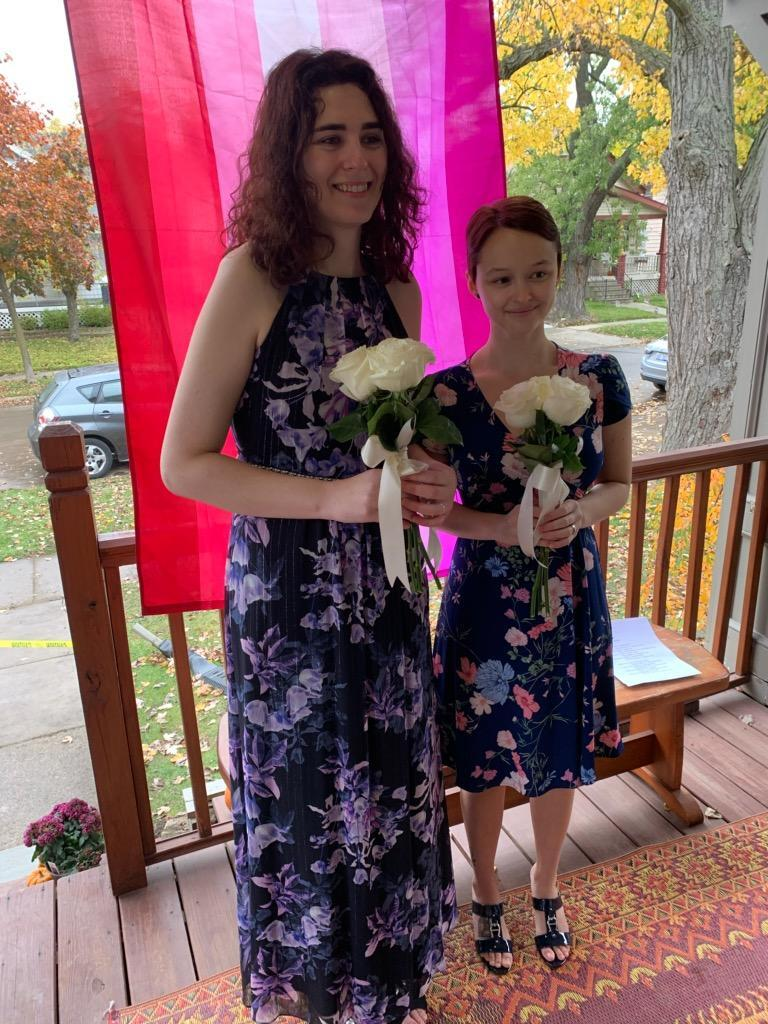 Emma Velasquez and Tess Kolp married by Julia Music on Oct. 27, 2020.
