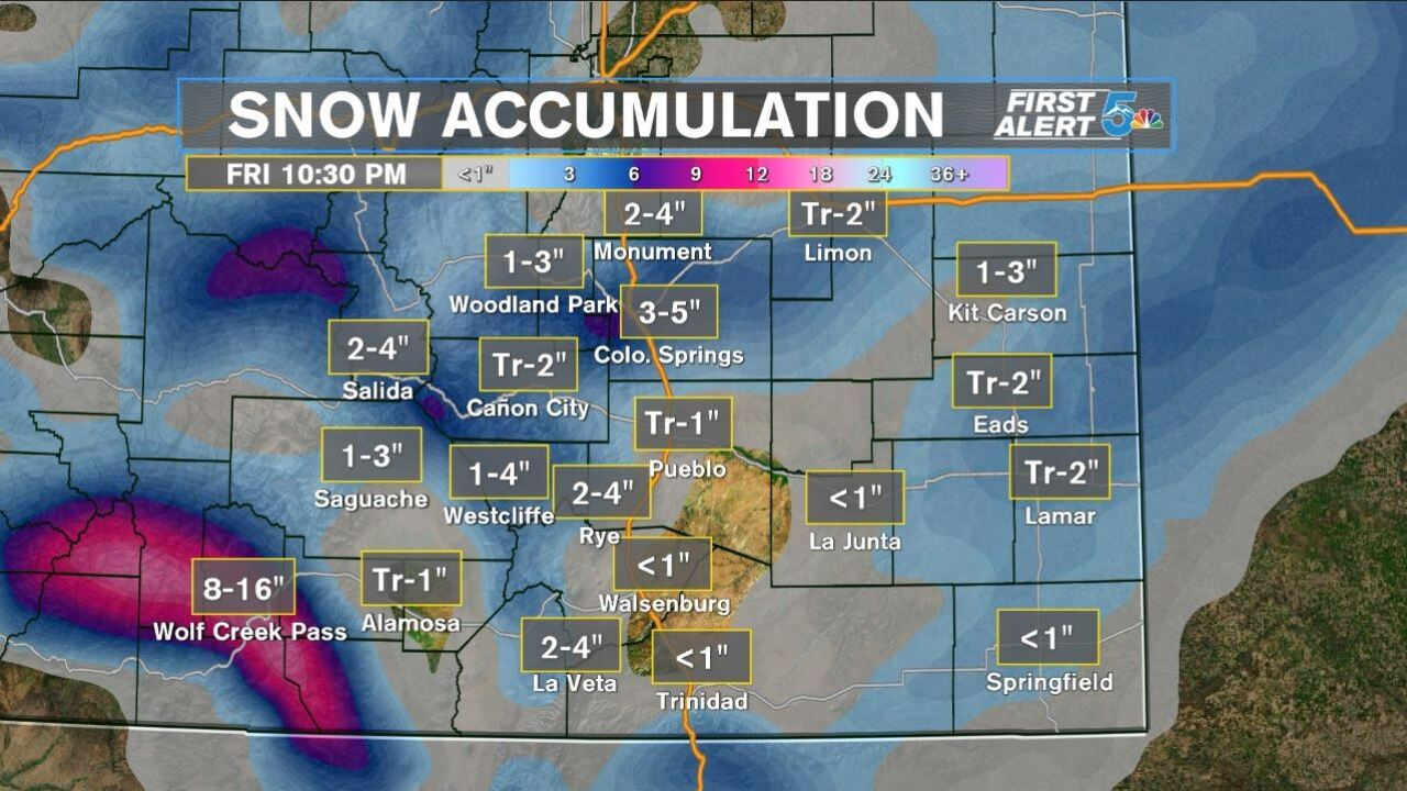 Snowfall totals 3/13