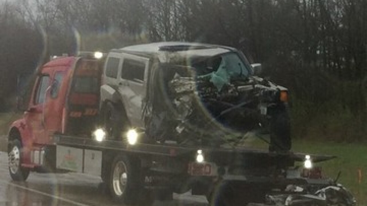 Two injured when suspected drunk driver hits semi head-on