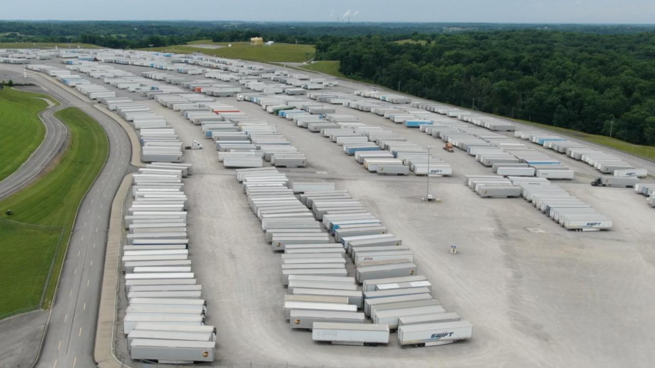 SKY 9 screenshot of semi-truck trailers at Kentucky Speedway