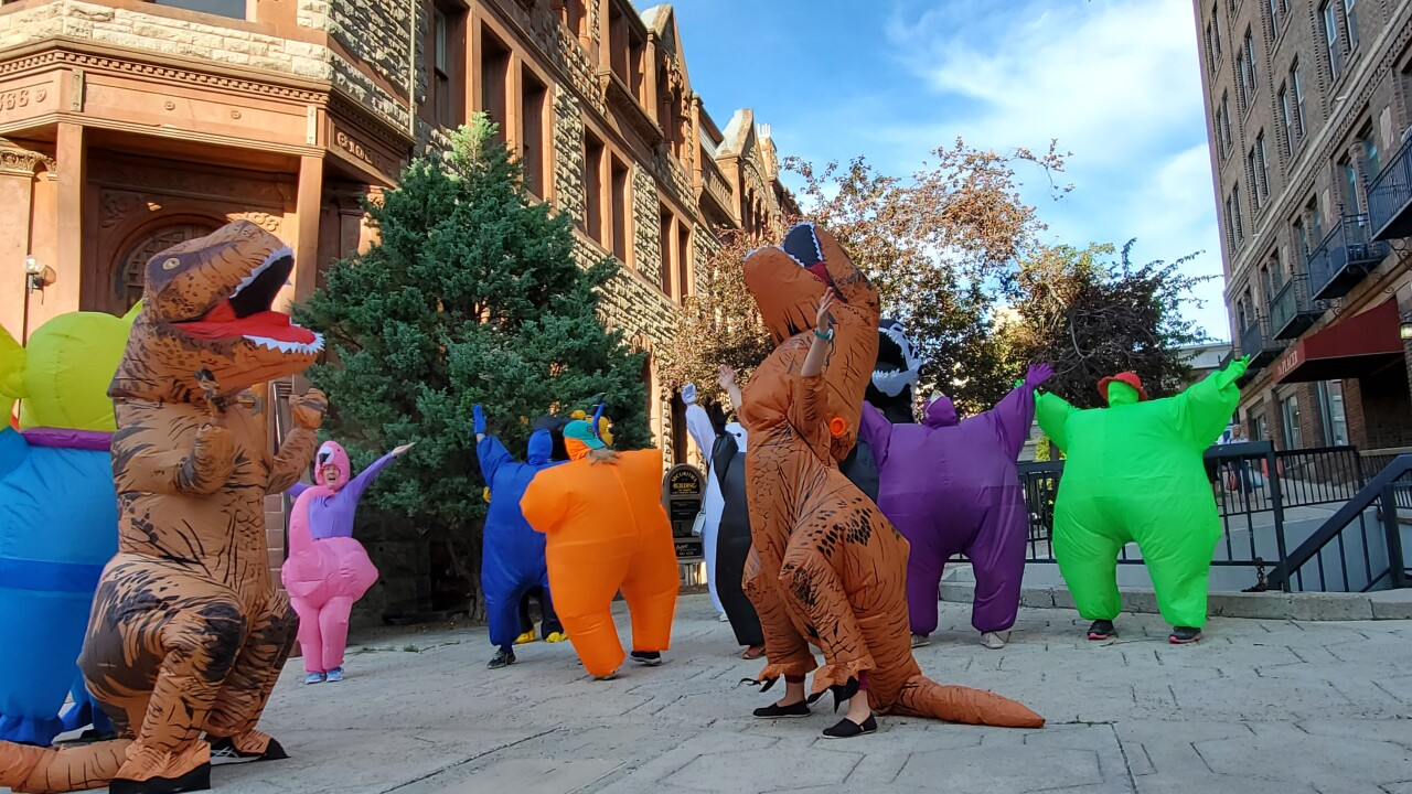 "An inflatable costume flash mob and ""social dis-dance party"" in Helena"