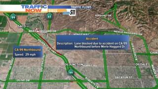 Crash causing delays on Highway 99 near Merle Haggard Drive