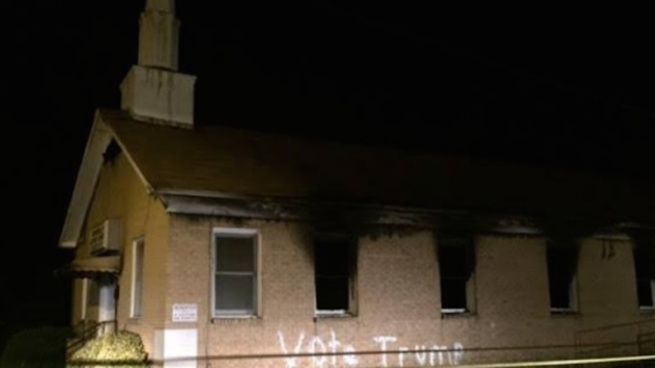 "Black church in Mississippi burned, tagged with ""Vote Trump"" graffiti"