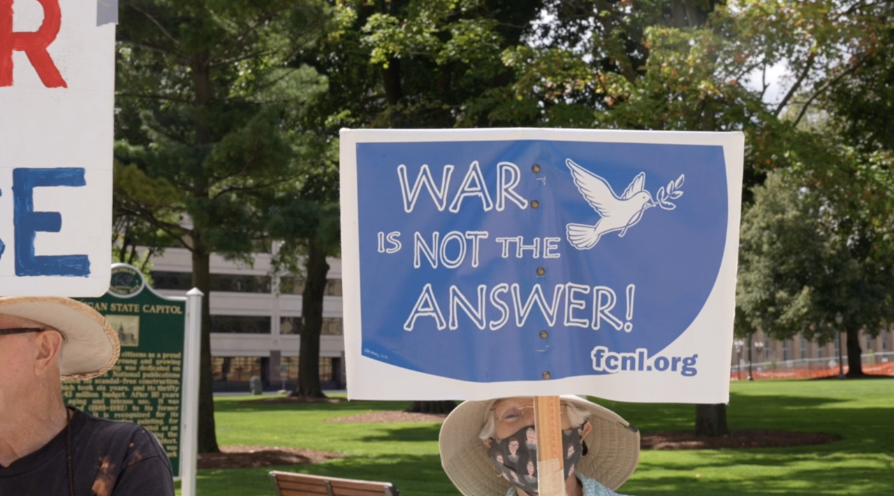 'War is not the answer' sign