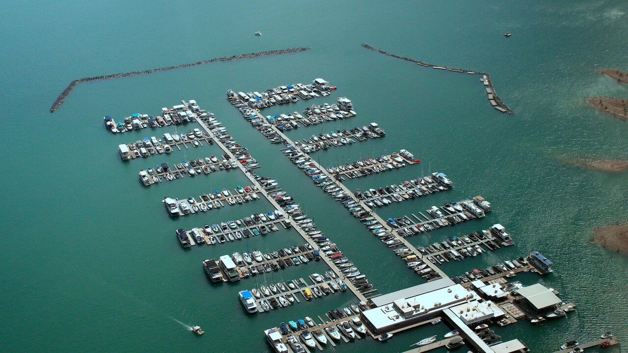 aerial view boats at Lake Mead