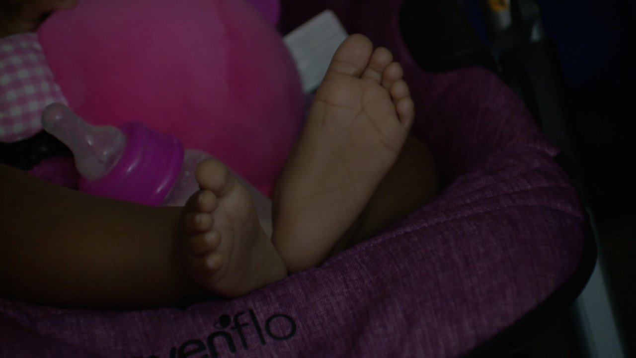 Feet of baby living in hotel