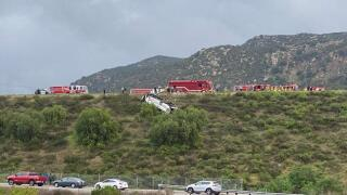 Bus overturns on Interstate 15 near Fallbrook