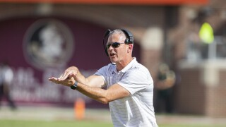 Florida State Seminoles head coach Mike Norvell in first half vs. Louisville Cardinals in 2021