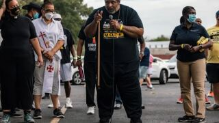 Rev. Dr. William J. Barber II participates in the Georgetown-to-Austin March for Democracy on July 28, 2021..JPG