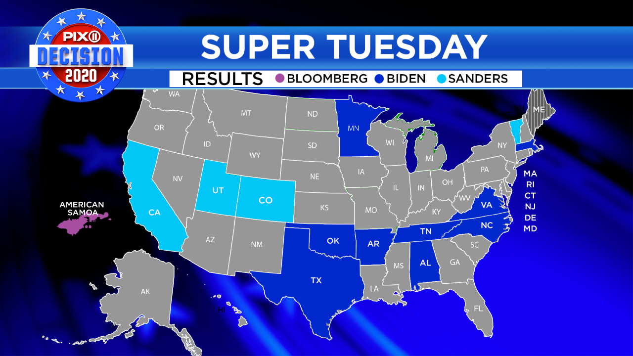 Super Tuesday 2020 results map