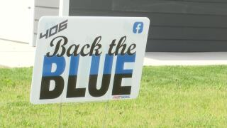 """Great Falls Police Community Foundation is selling """"406 Back the Blue"""" signs"""