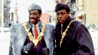 Eddie Murphy and Arsenio Hall in scene from 'Coming to America'