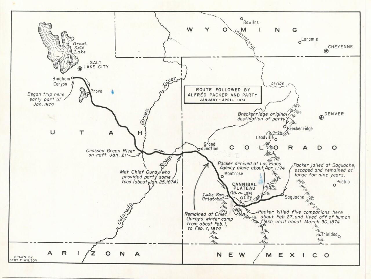 Alferd Packer mapped route
