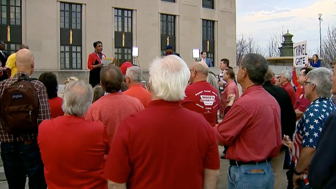 Demonstrators Call For Mayor's Resignation At Rally