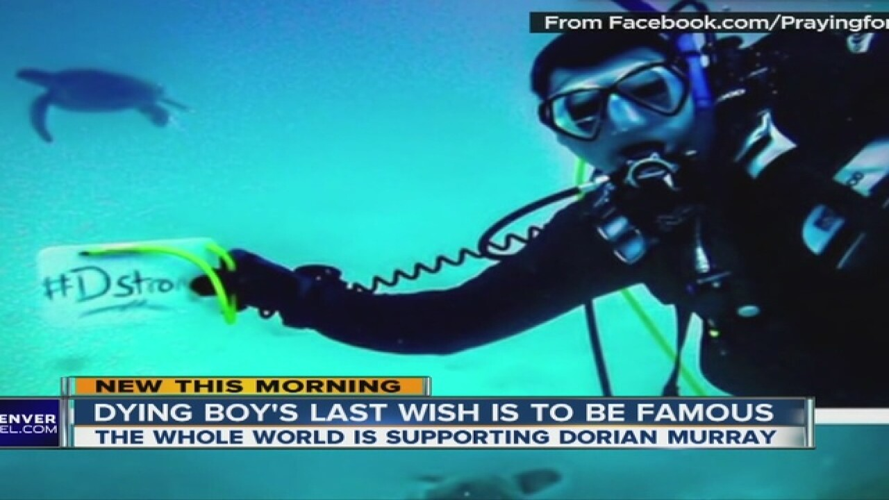 Boy with terminal cancer wants to be famous