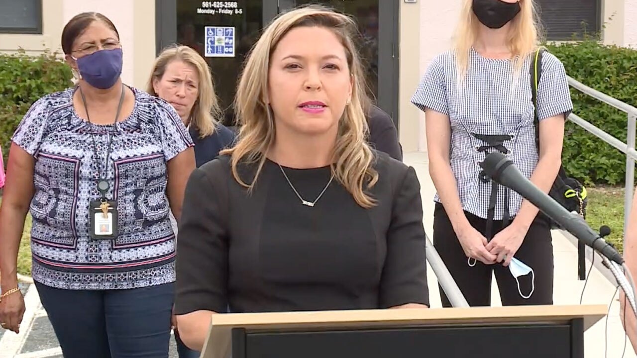 State Rep. Emily Slosberg speaks on May 14, 2021 after passage of Gail's Law
