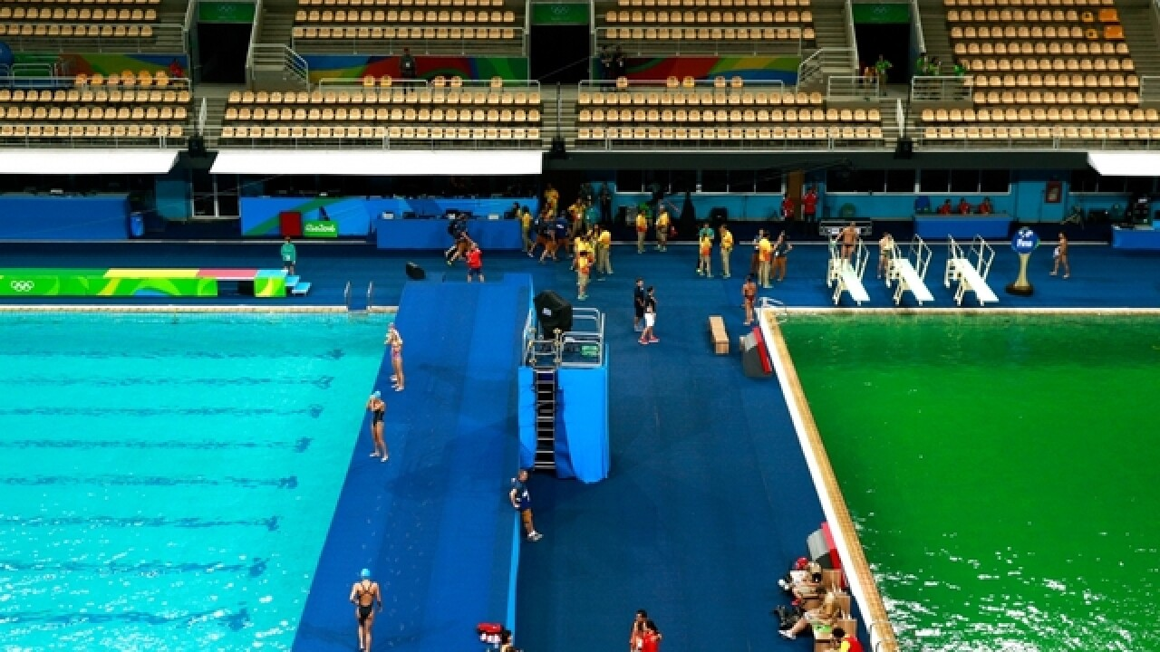 Green water temporarily shuts down Olympic pool