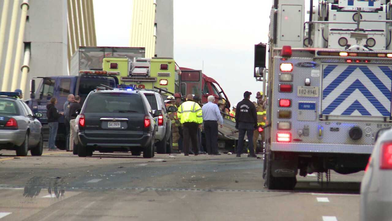 1 dead after semi hauling frozen turkeys hits car on Varina-Enon Bridge
