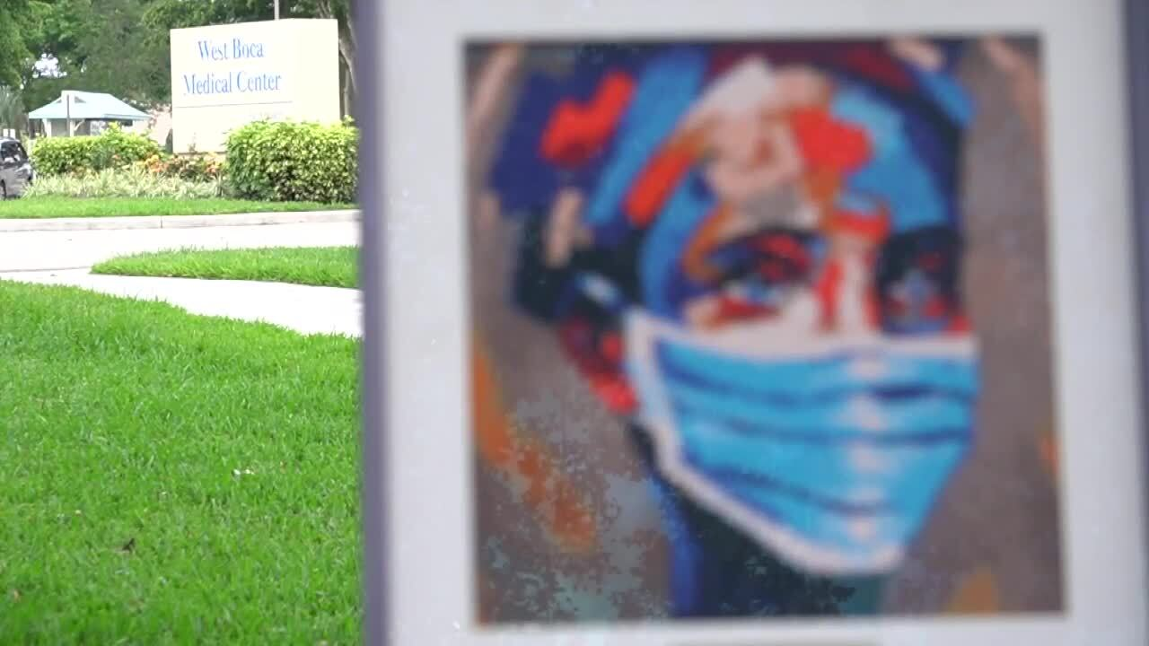 beads on canvas artwork with West Boca Medical Center sign in background