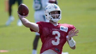 Miami Dolphins QB Josh Rosen in training camp, Aug. 25, 2020