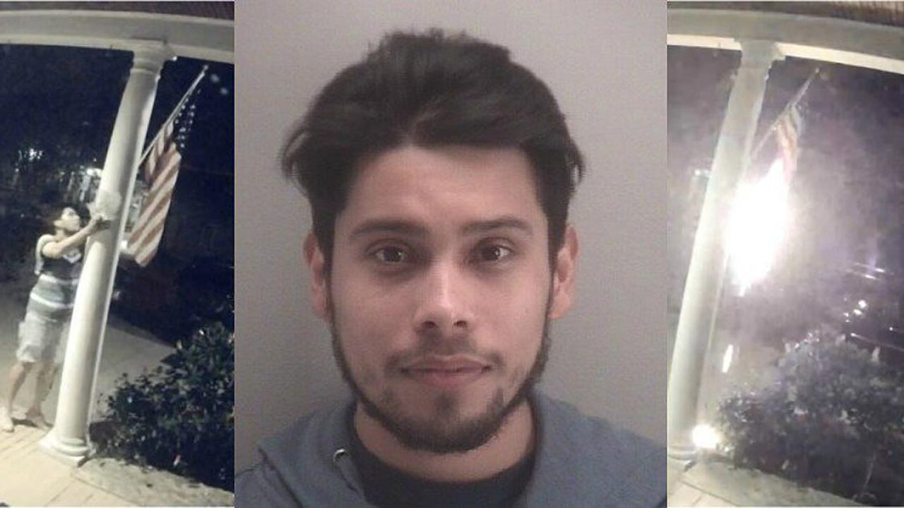 Police arrest man who burned American flag hanging from Virginia home