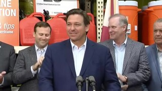 Florida Gov. Ron DeSantis holds a news conference at a Home Depot in Pensacola on May 21, 2021