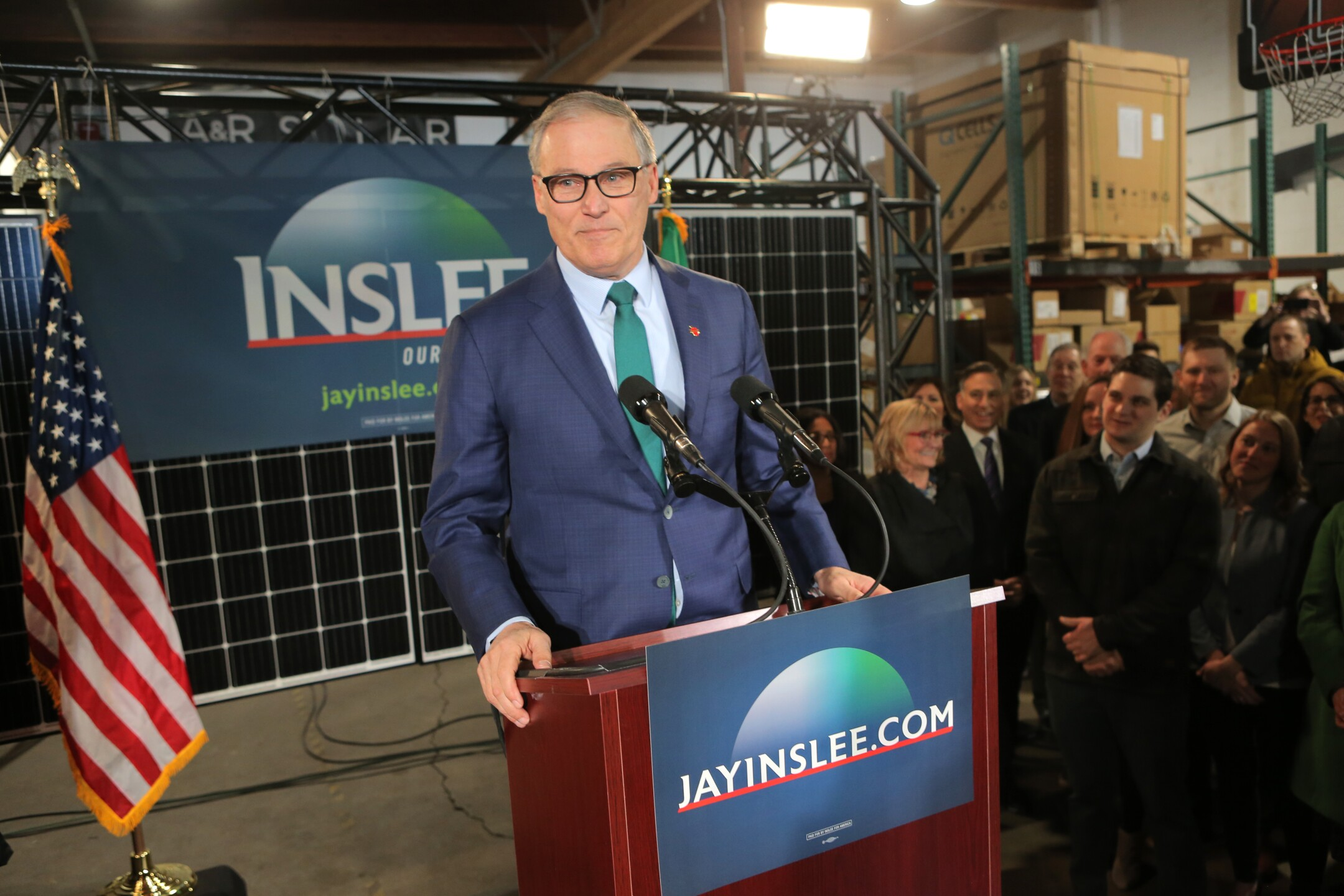 Jay Inslee is the governor of Washington. He announced his candidacy forpresident of the United States on March 1, 2019.