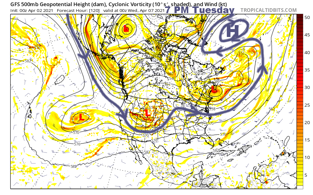 500 mb flow valid 7 PM Tuesday