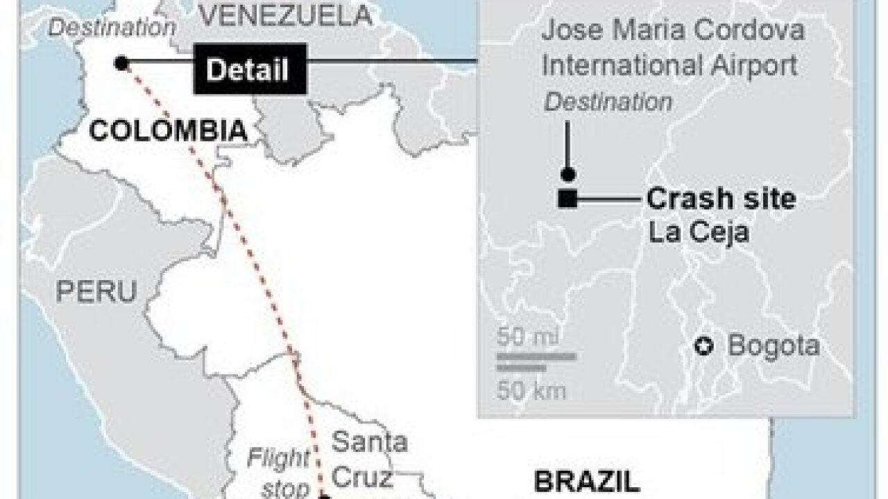 Colombia authorities respond to plane crash