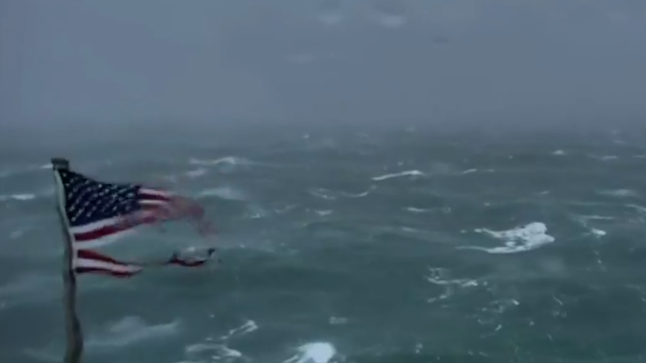 Battered American Flag provides mesmerizing live stream, powerful imagery of Hurricane Florence