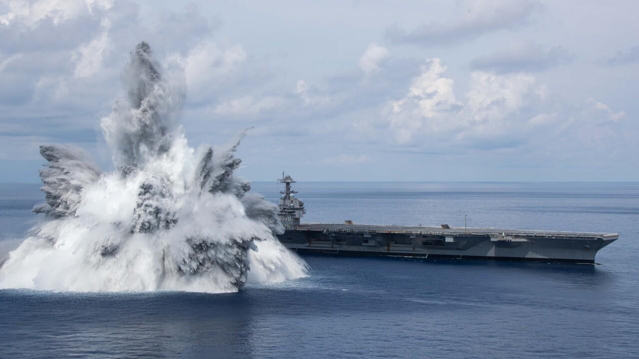 USS Gerald R. Ford (CVN 78) Conducts Shock Trials