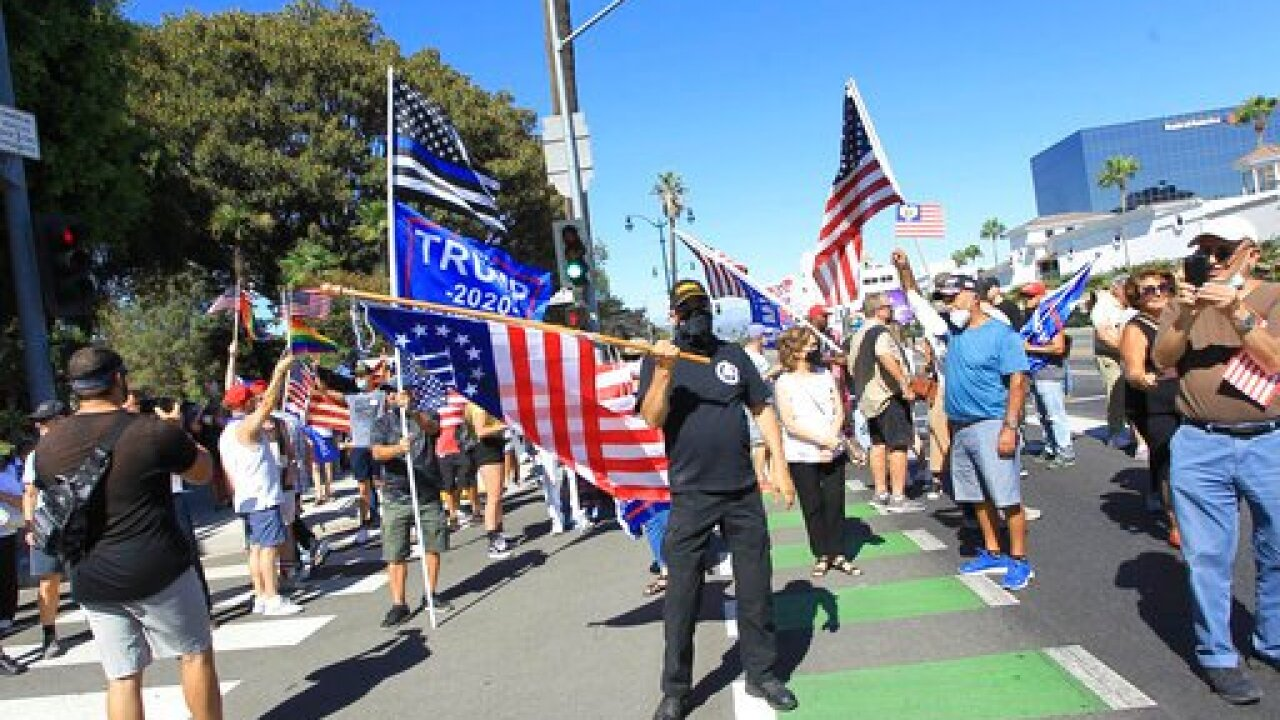A Trump Rally is seen in Beverly Hills - 8/29/20