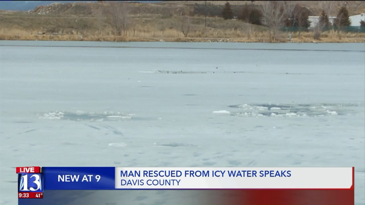 Man, dog rescued after falling through icypond