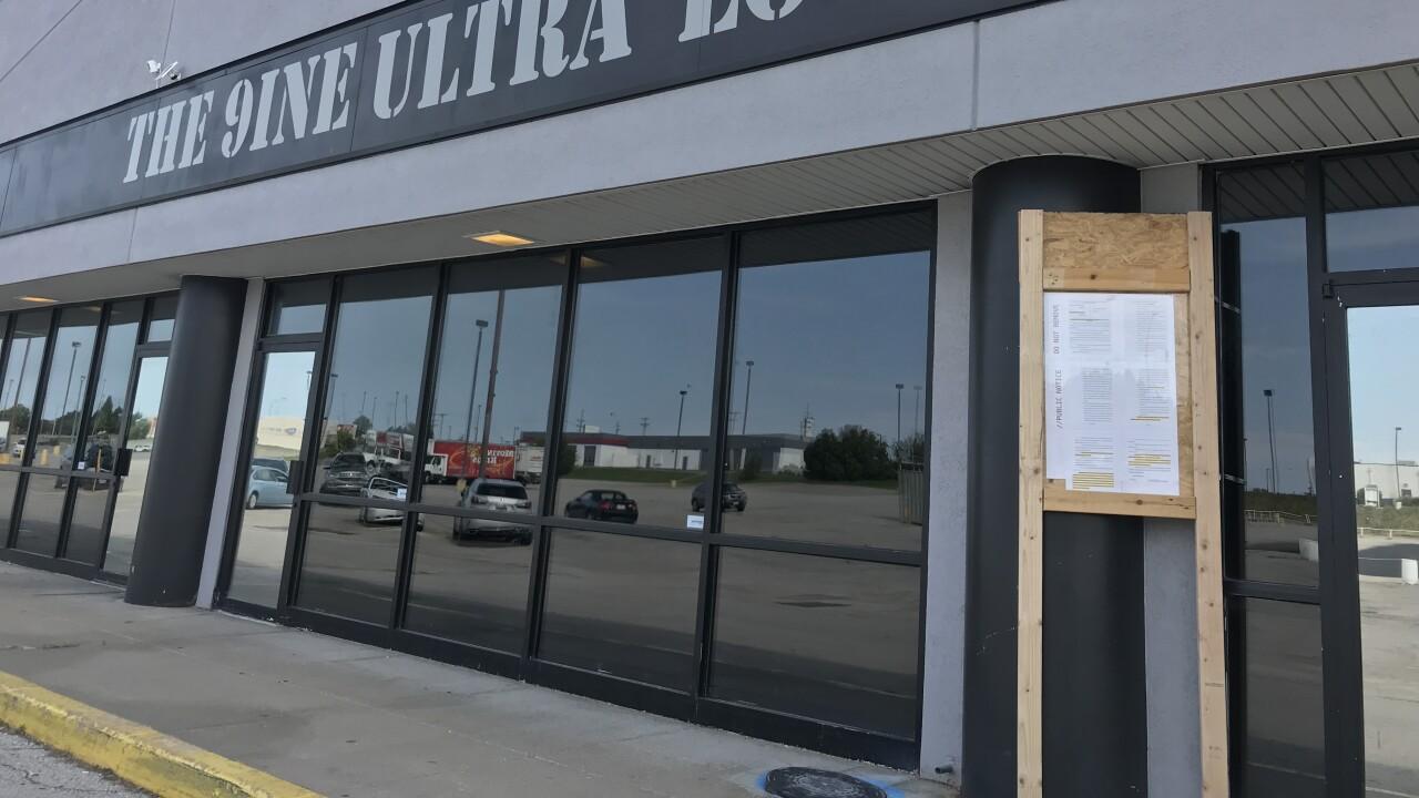 Restraining order outside 9ine Ultra Lounge