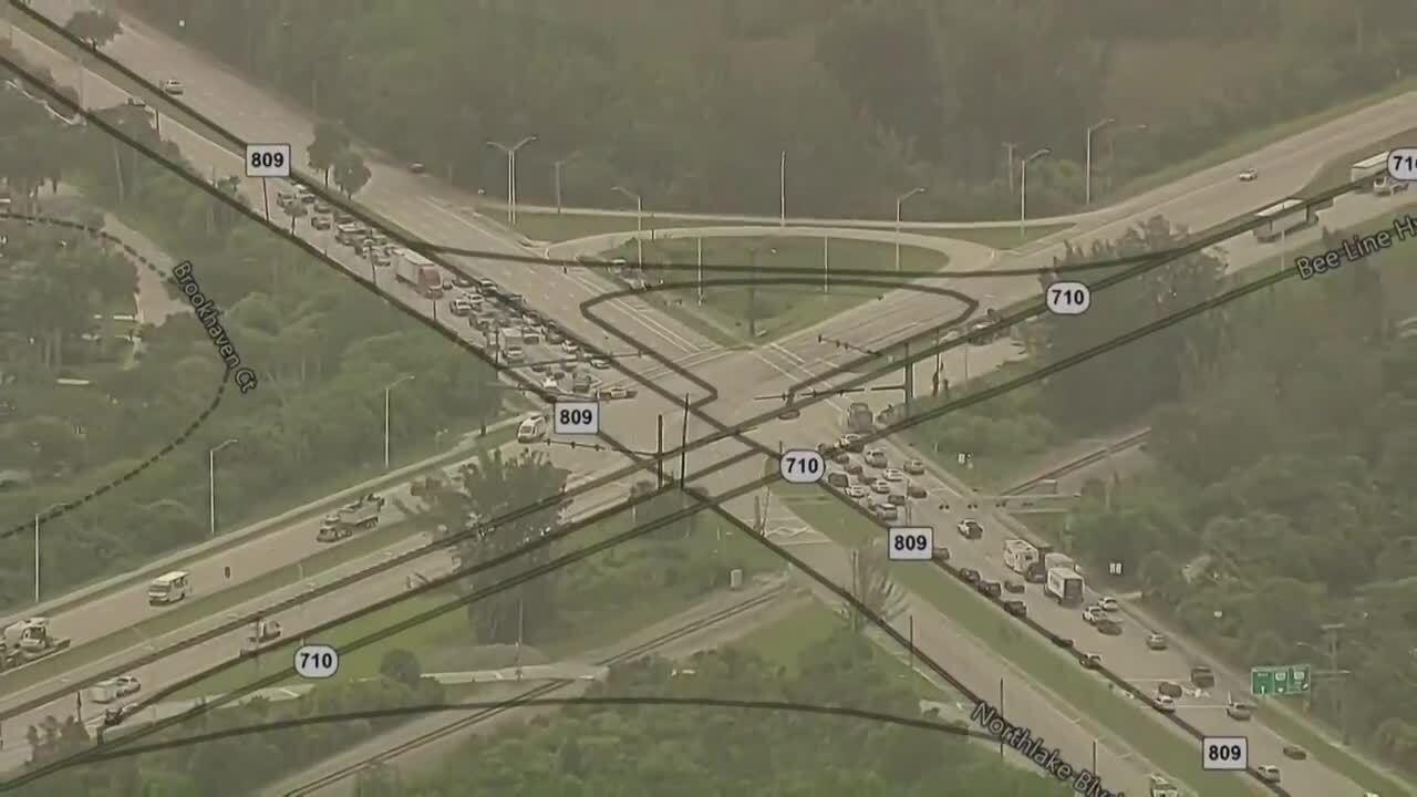 chopper 5 map of Northlake Boulevard and Bee Line Highway traffic crash detours
