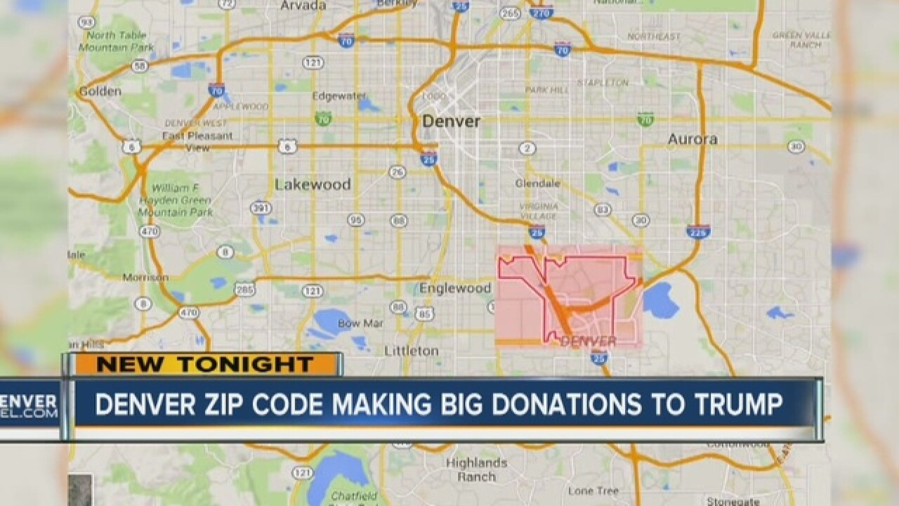 Denver zip code in top 10 for Trump donations