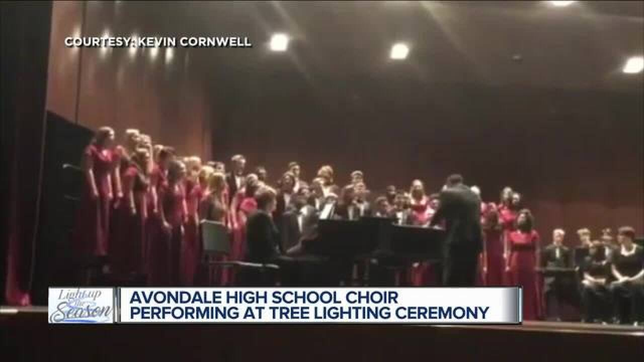 Avondale High choir performing at tree lighting