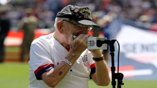 This 96-year-old World War II Veteran Is Going Viral For Playing The National Anthem On Harmonica At An NBA Game