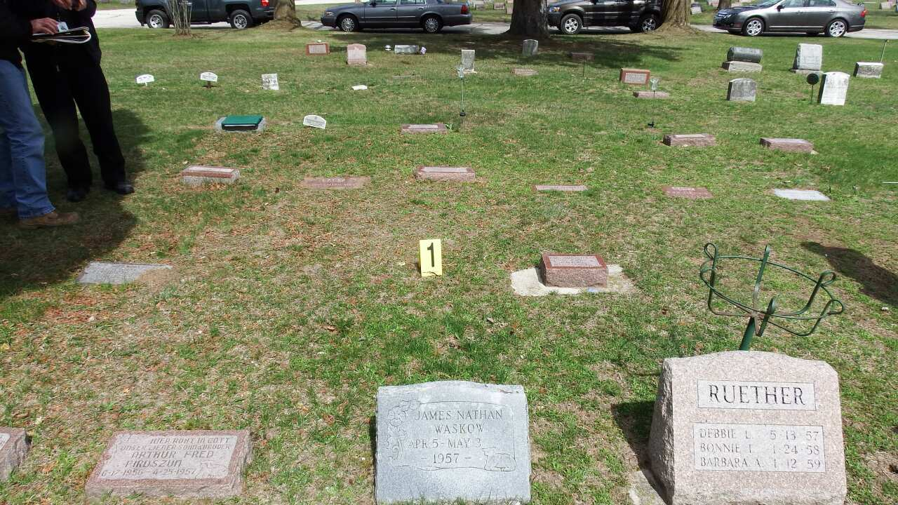 Two Rivers infant grave at Holy Cross Cemetary