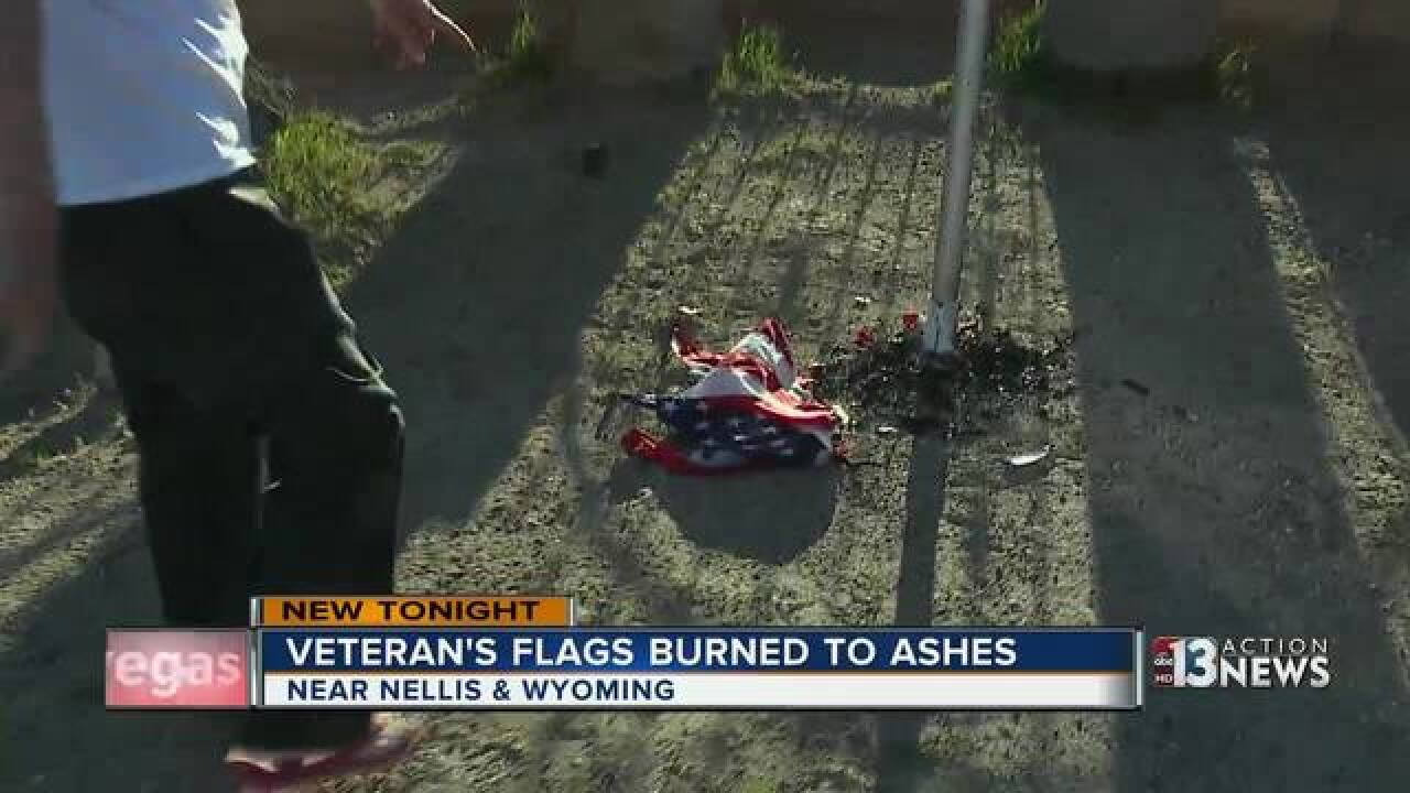 U.S. Navy Veteran's four flags burned to ashes