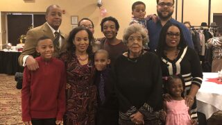 Marjorie Parham and her family at her 100th birthday party on Feb.12, 2018.